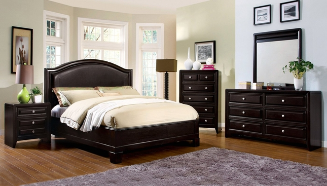 Winsor Contemporary Espresso Platform Bedroom Set with Padded ...