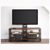 """Winston Industrial Solid Birch And Metal 60"""" TV Console With TV Mount"""