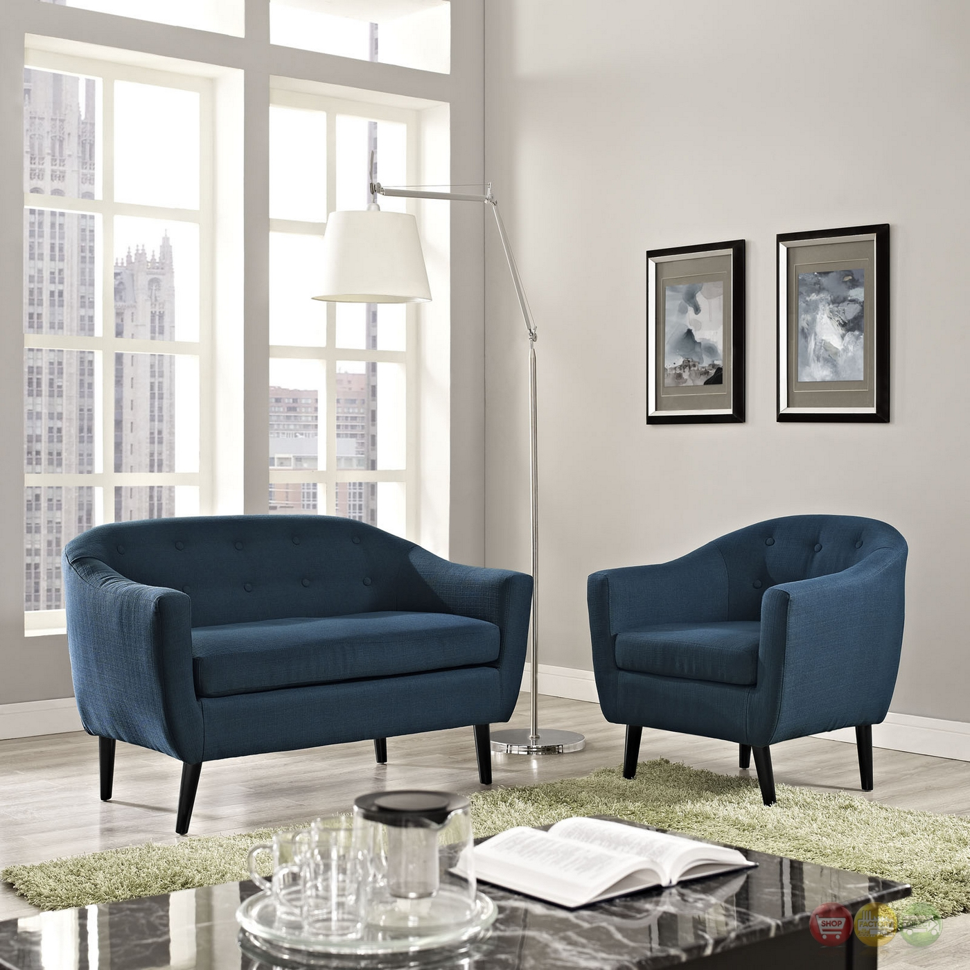Wit Contemporary 2pc Upholstered Living Room Set Azure
