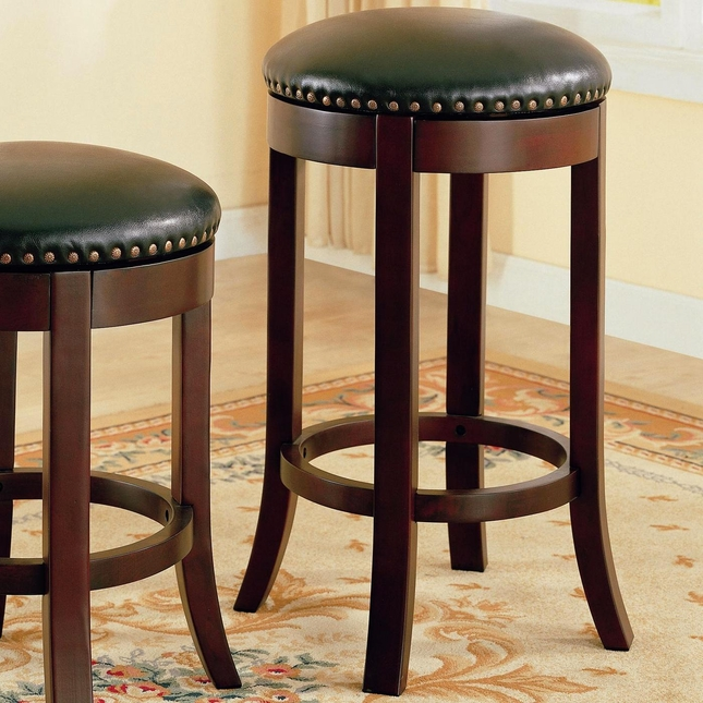 Wooden Walnut Finish 29 Inch Swivel Seat Barstool