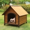 Woodie Modern Rustic Wooden Dog House in Oak & Dark Brown Finish
