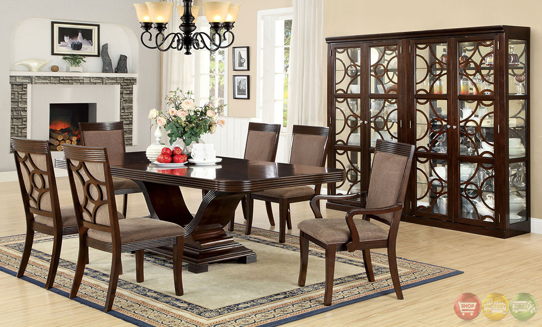 Woodmont contemporary walnut formal dining set with for Formal modern dining room sets