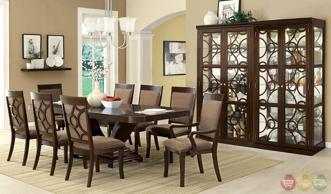 Woodmont contemporary walnut formal dining set with for Modern formal dining set
