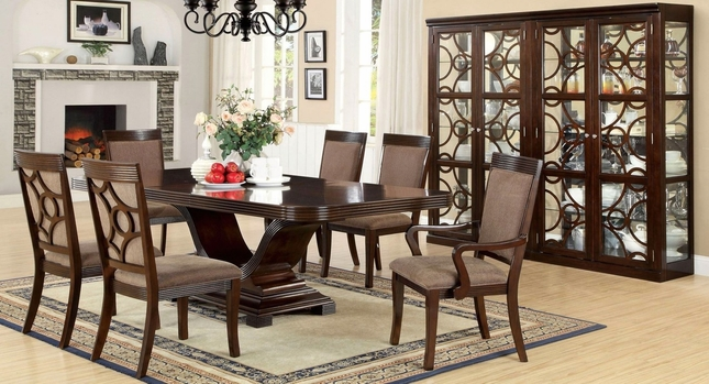 Woodmont Contemporary Walnut Formal Dining Set with Matching Modern Curio