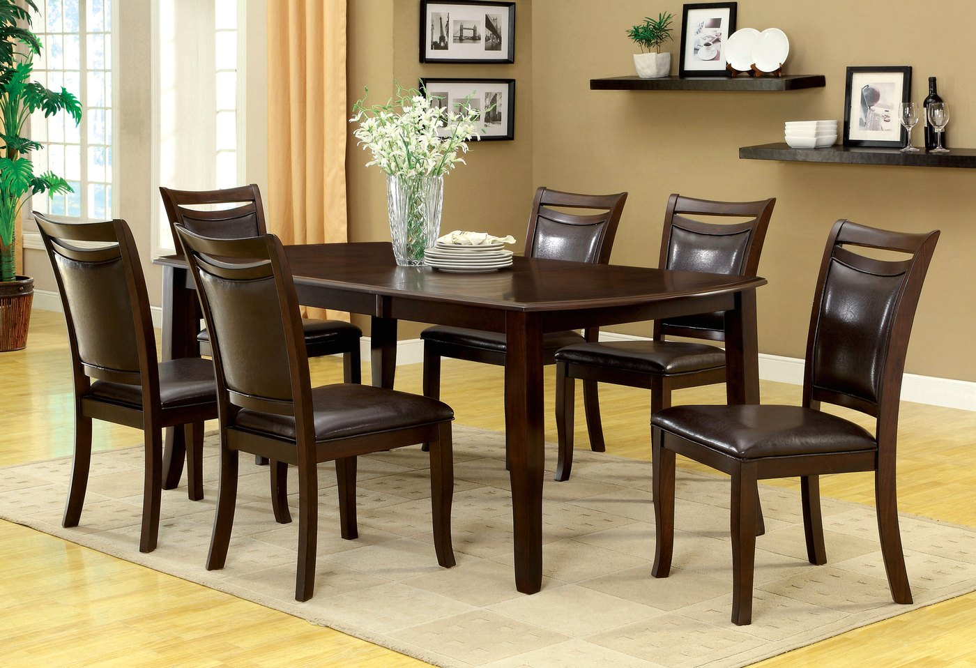 Woodside Contemporary Dark Cherry Casual Dining Set With