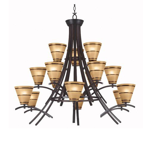 Wright Craftsman Style 15 Light Chandelier ORB