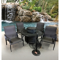 Wyndermere Outdoor Gas Fire Pit Patio Table Set Cast Aluminum Patio Furniture