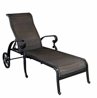 Wyndermere Woven Outdoor Chaise Lounge Adjustable Back & Wheels