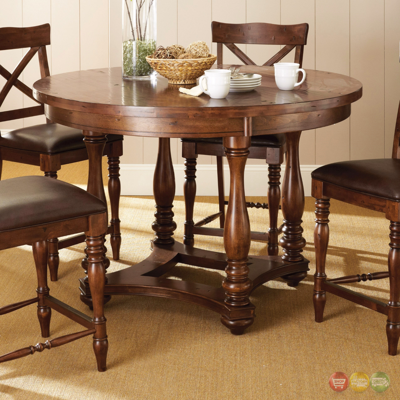 Wyndham Rustic Birch Round 54 Quot Counter Height Table In