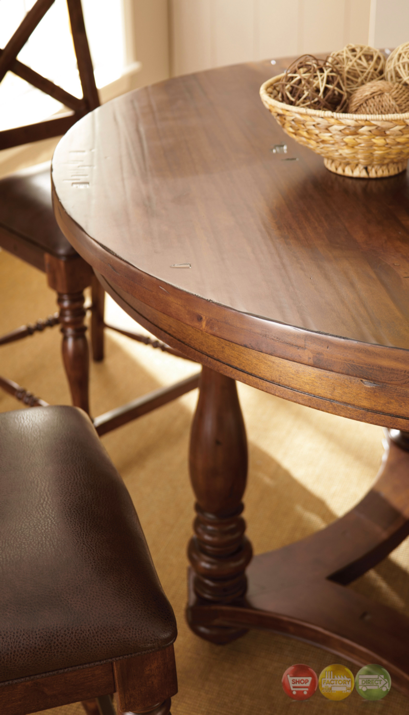 """Rustic Cherry Rectangular Table Formal Dining Room Set: Wyndham Rustic Birch Round 54"""" Counter Height Table In"""