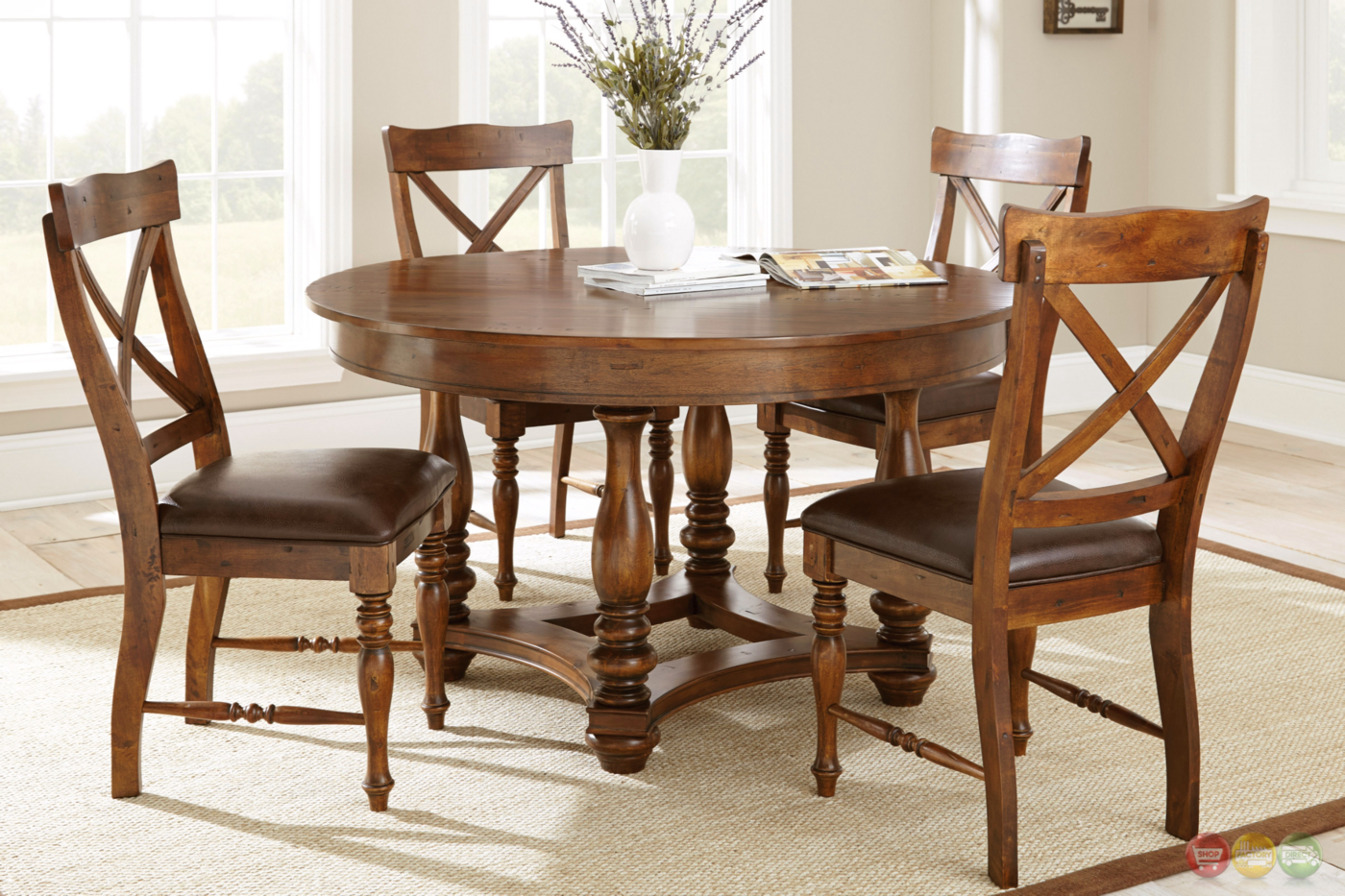wyndham rustic round 54 birch dining table in medium cherry. Black Bedroom Furniture Sets. Home Design Ideas