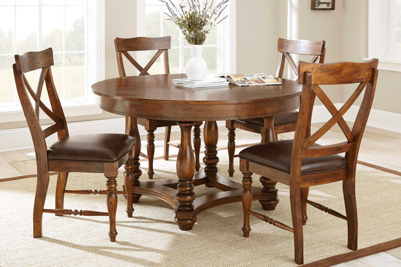 """Small Round Rustic Side Tables: Wyndham Rustic Round 54"""" Birch Dining Table In Medium Cherry"""