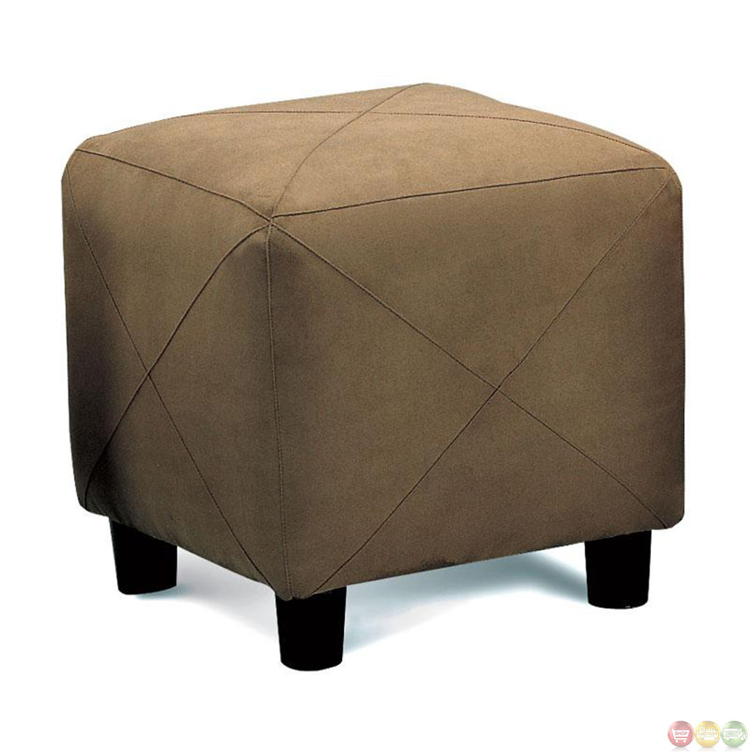 X accent stitching cube shaped expose wood feet ottoman