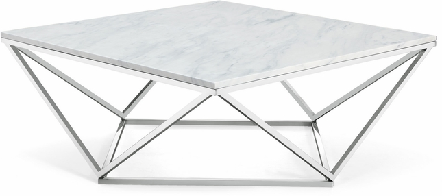 Xavier Modern Marble Top Coffee Table With Geometric Chrome