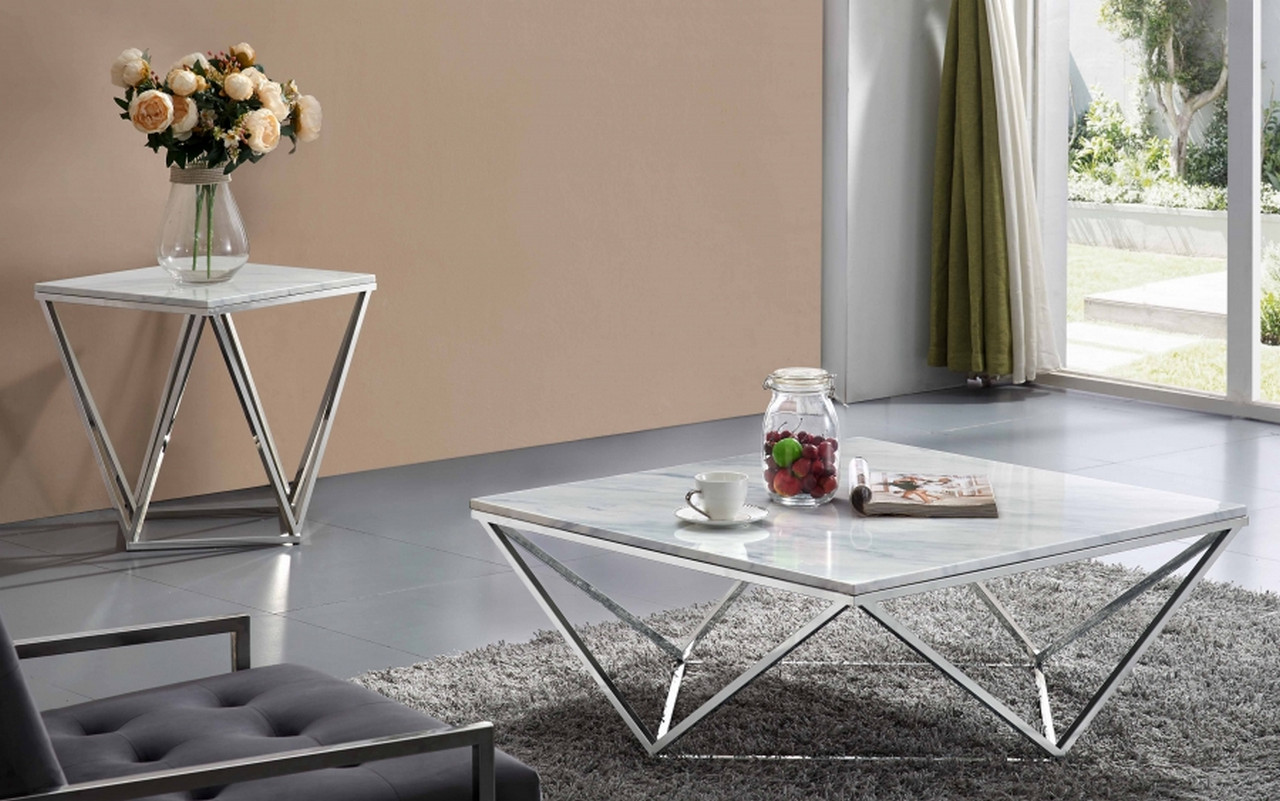 Xavier Modern Marble Top Coffee Table with Geometric Chrome Stainless Steel Base