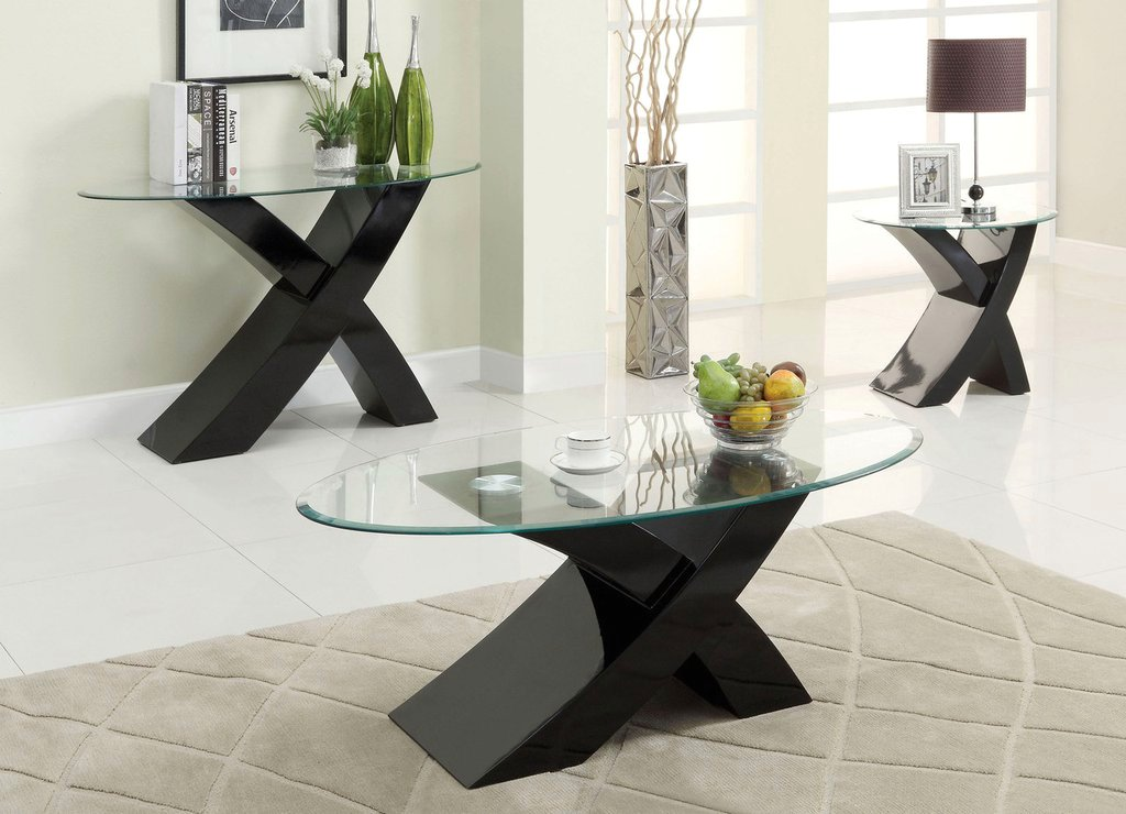 Xtres Contemporary Black Accent Tables With High Gloss