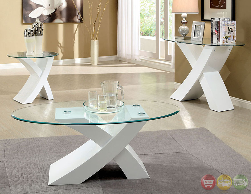 Xtres Contemporary White Accent Tables With High Gloss