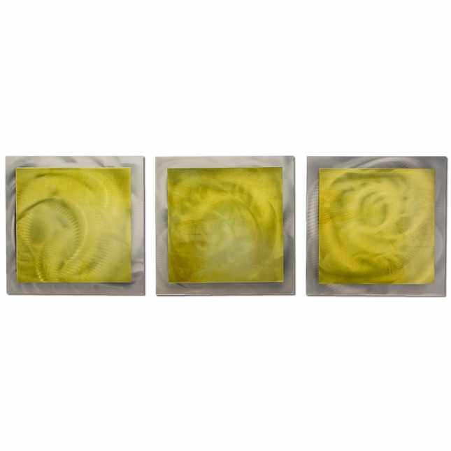 Yellow Essence Set of 3 Layered Modern Metal Wall Art L0171