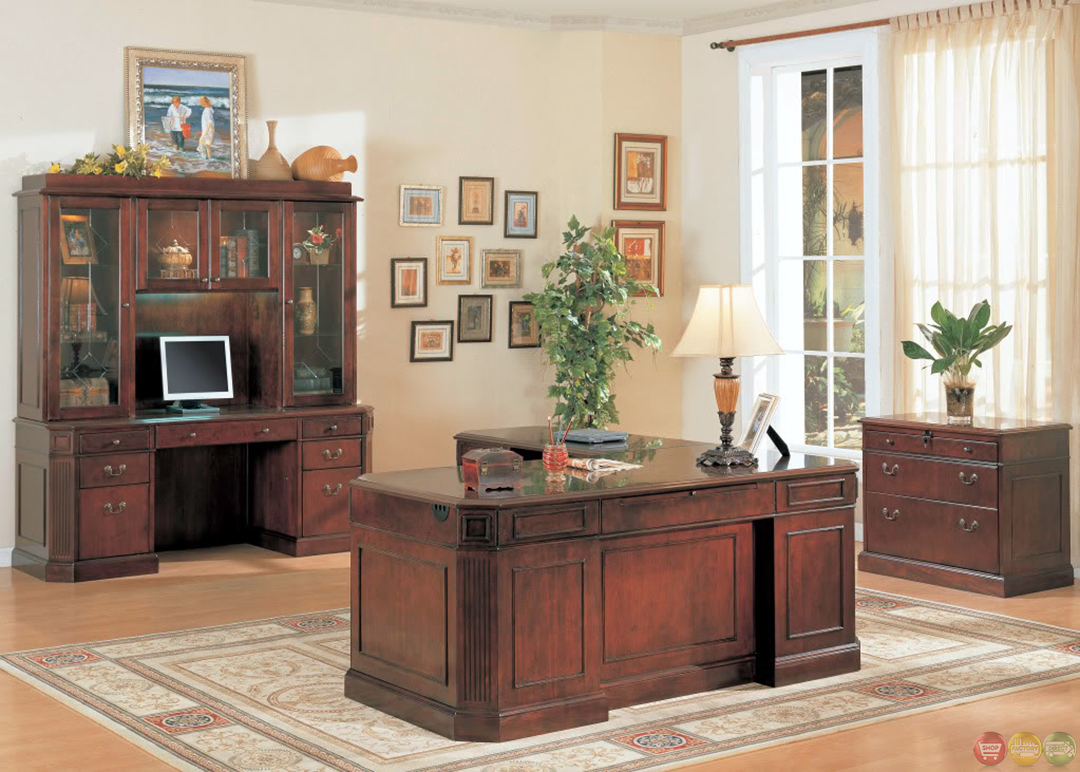 Youngtown L Shaped Executive Desk With Fluted Corner And
