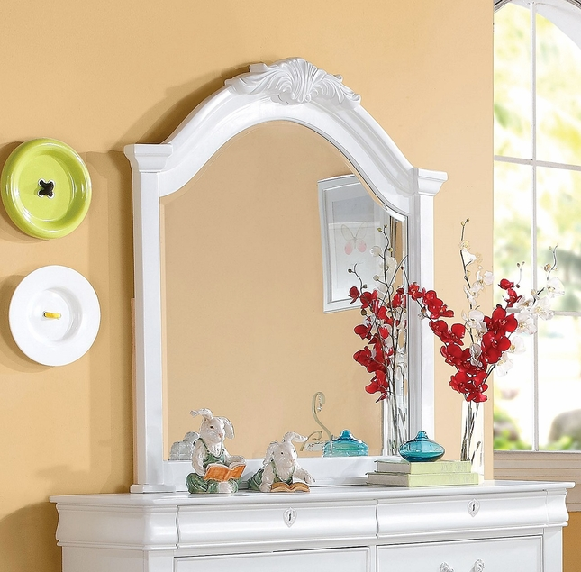 Yuna Kids Classic Girl's Framed Beveled Mirror with Carved Crown in White
