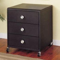 Z Youth Bedroom Contemporary Black Three Drawer Rolling Chest
