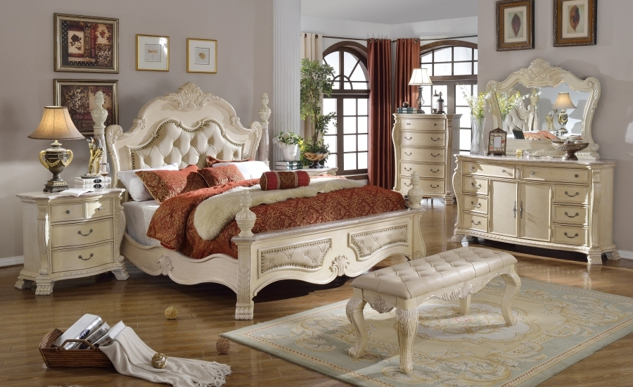 Zachary antique white traditional bedroom w tufted - Traditional white bedroom furniture ...