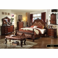 Zachary Traditional Cherry Poster Bedroom Set Tufted Leather & Marble Accents