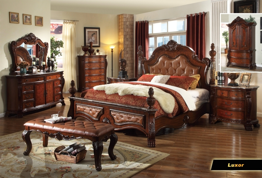 Zachary traditional poster bedroom collection leather - Traditional bedroom furniture sets ...