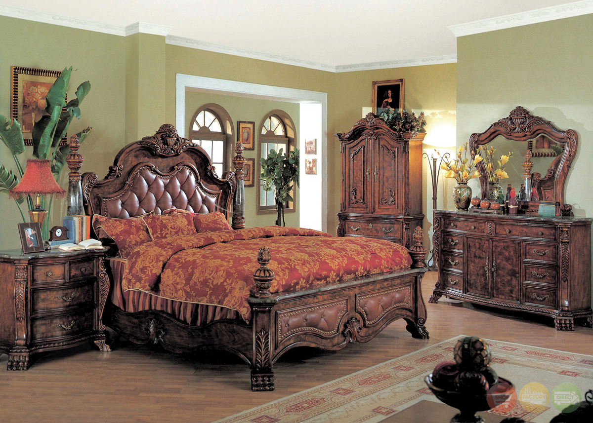 Zachary traditional poster bedroom collection leather for Bed and bedroom sets