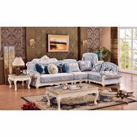 Zahra French Provincial 3Pc Sectional Sofa With Rich Pearl Wood Finish