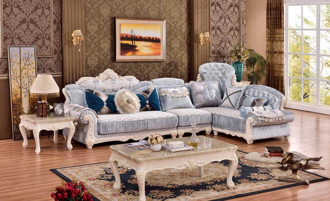 Zahra French Provincial 3Pc Sectional Sofa With Rich Pearl Rich Wood Finish