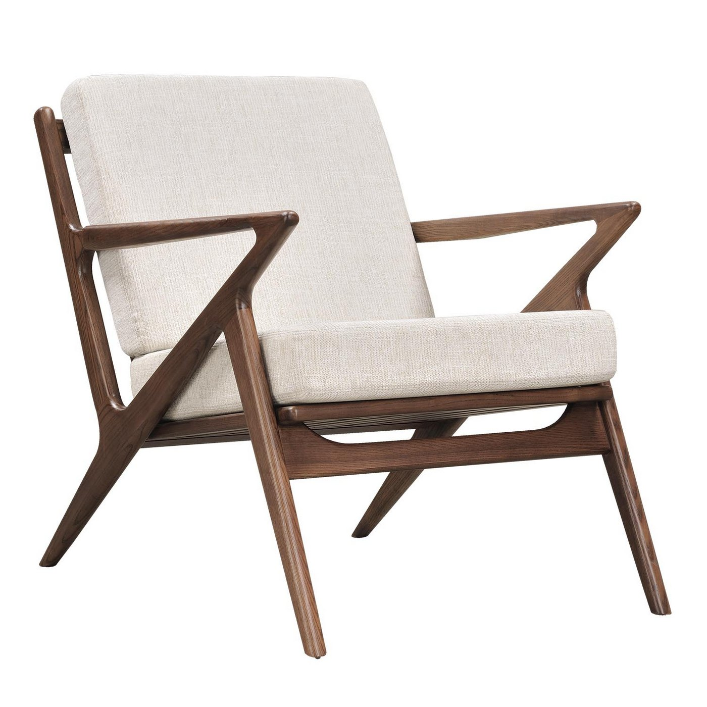 Zain mid century modern beige fabric chair with wooden for Contemporary seating chairs