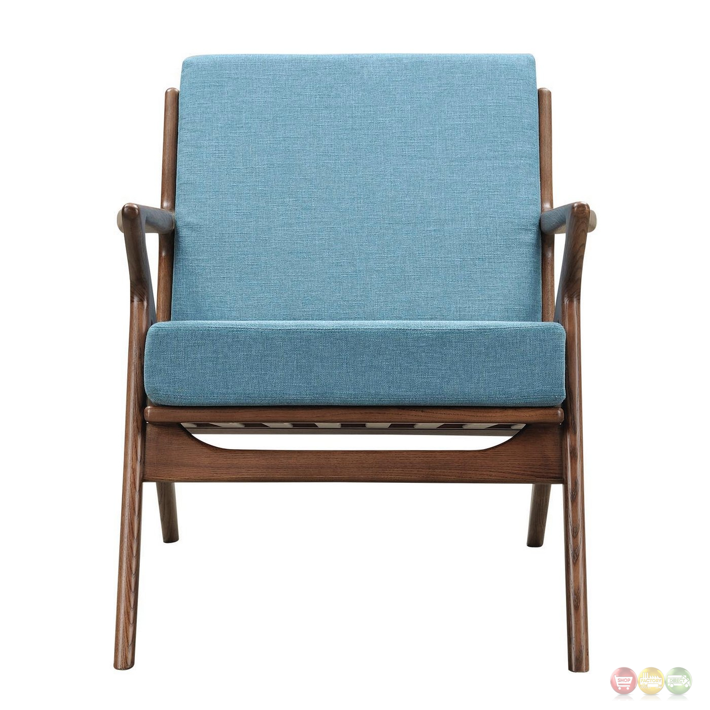 zain mid century modern blue fabric chair with wooden walnut frame. Black Bedroom Furniture Sets. Home Design Ideas
