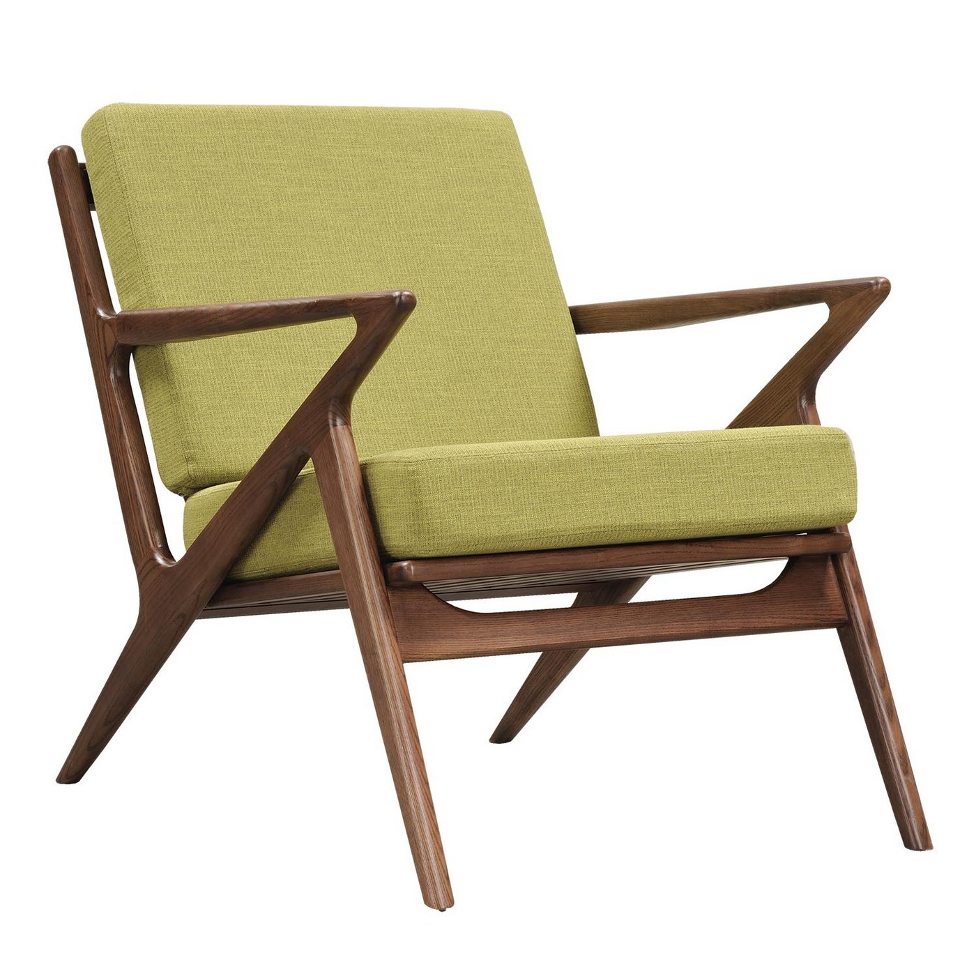 Mid Century Modern Wood: Zain Mid Century Modern Green Fabric Chair With Wooden