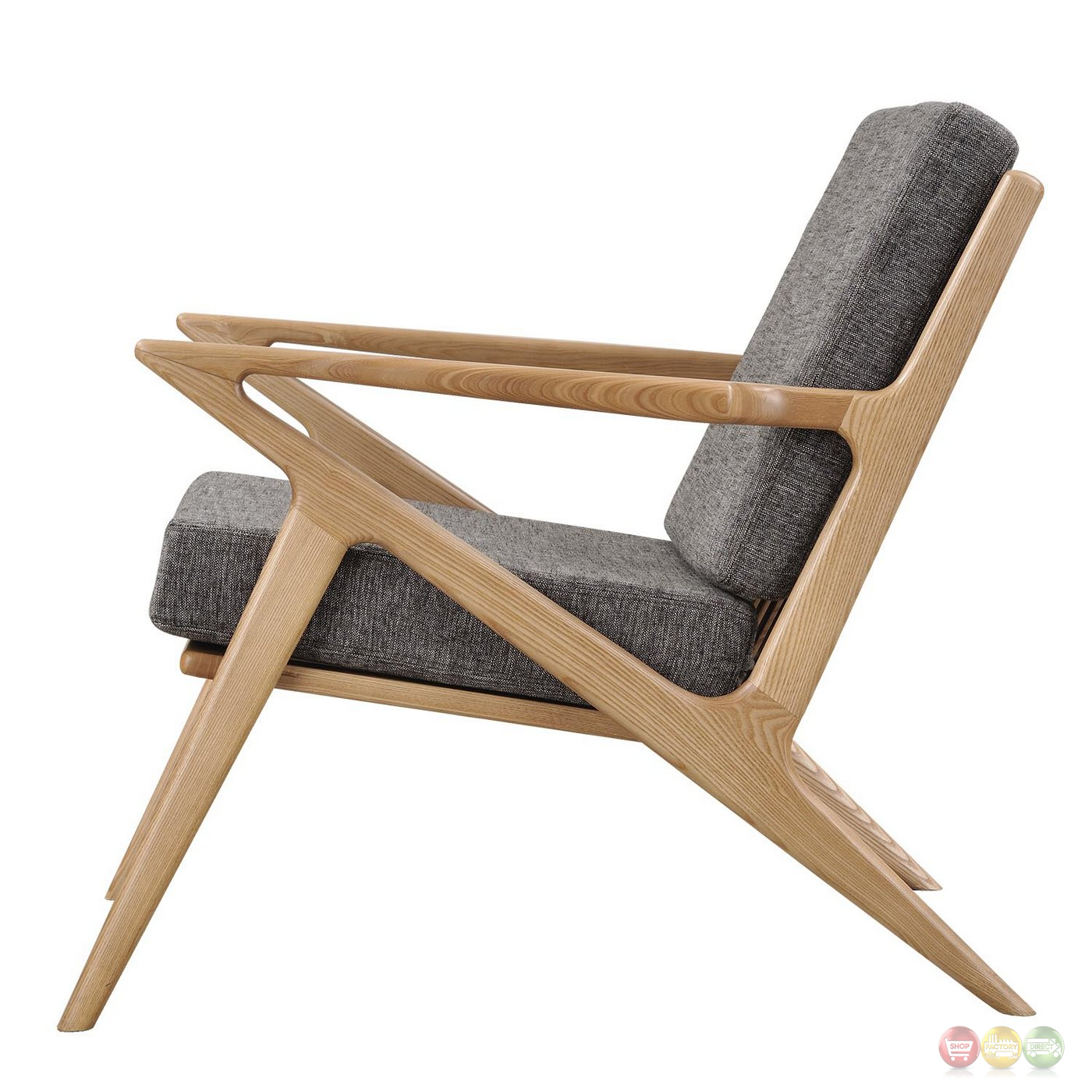 zain mid century modern grey fabric chair with wooden natural frame. Black Bedroom Furniture Sets. Home Design Ideas