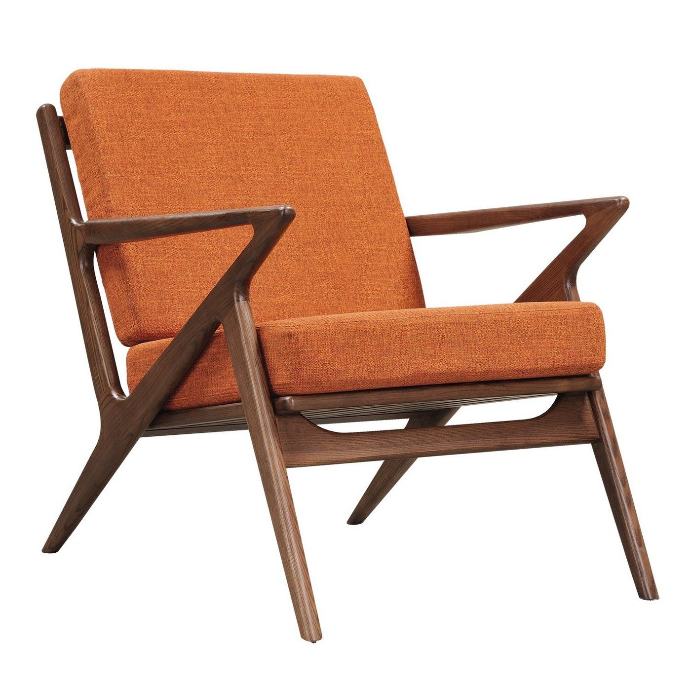Mid Century Chair: Zain Mid Century Modern Orange Fabric Chair With Wooden