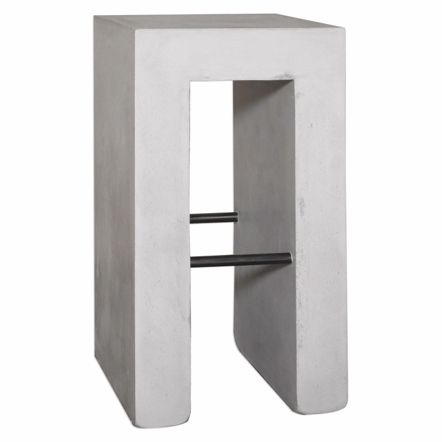 Zaire Industrial Concrete Bar Stool With Smooth Gray Finish
