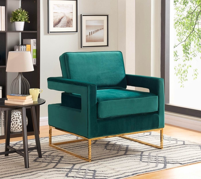 Zane Modern Green Velvet Accent Chair With Gold Stainless Steel Base