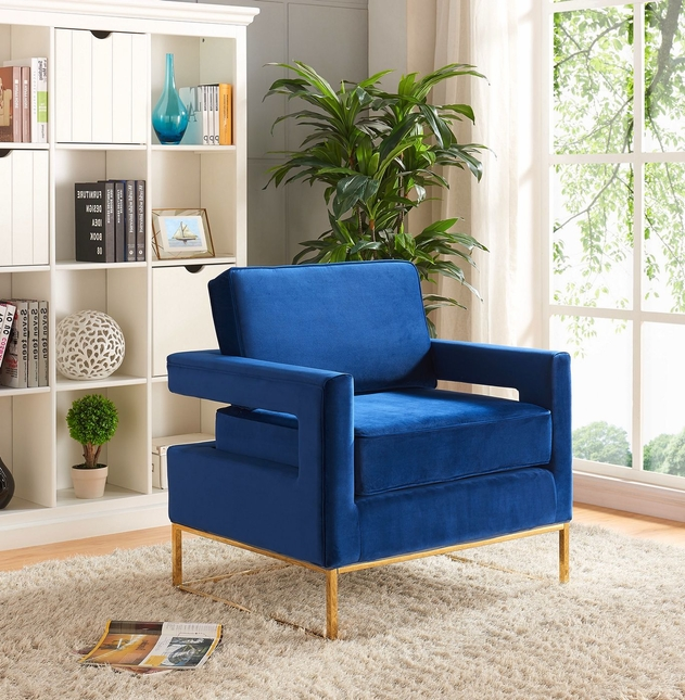 Zane Modern Navy Velvet Accent Chair With Gold Stainless Steel Base