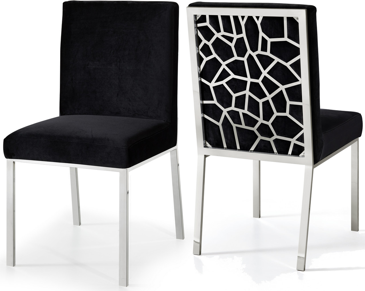 Awe Inspiring Details About Set Of 2 Zariya Modern Black Velvet Dining Chair Geometric Back Chrome Finish Caraccident5 Cool Chair Designs And Ideas Caraccident5Info