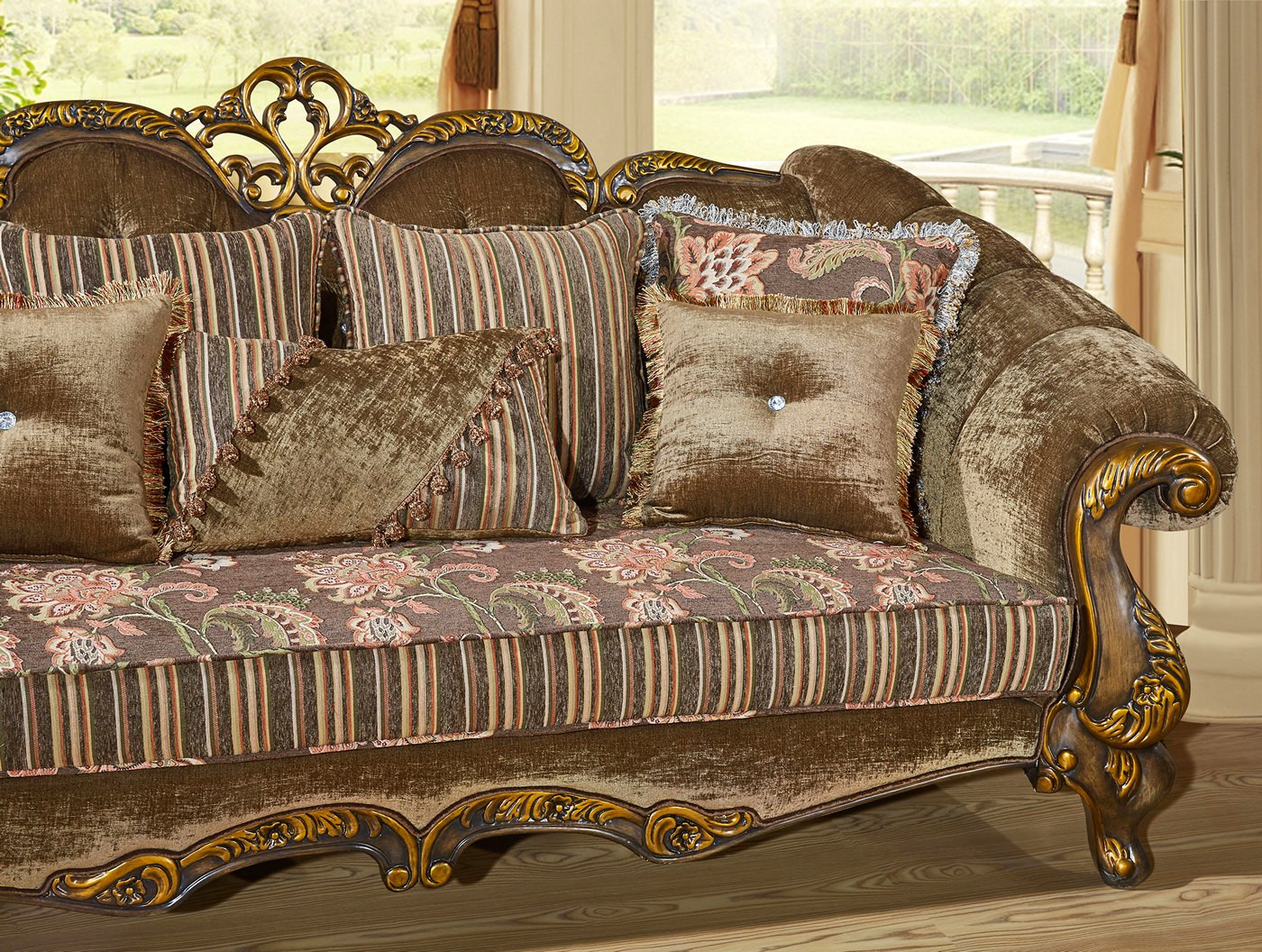 Zaylee Brown And Pink Floral Amp Stripes Fabric Loveseat W