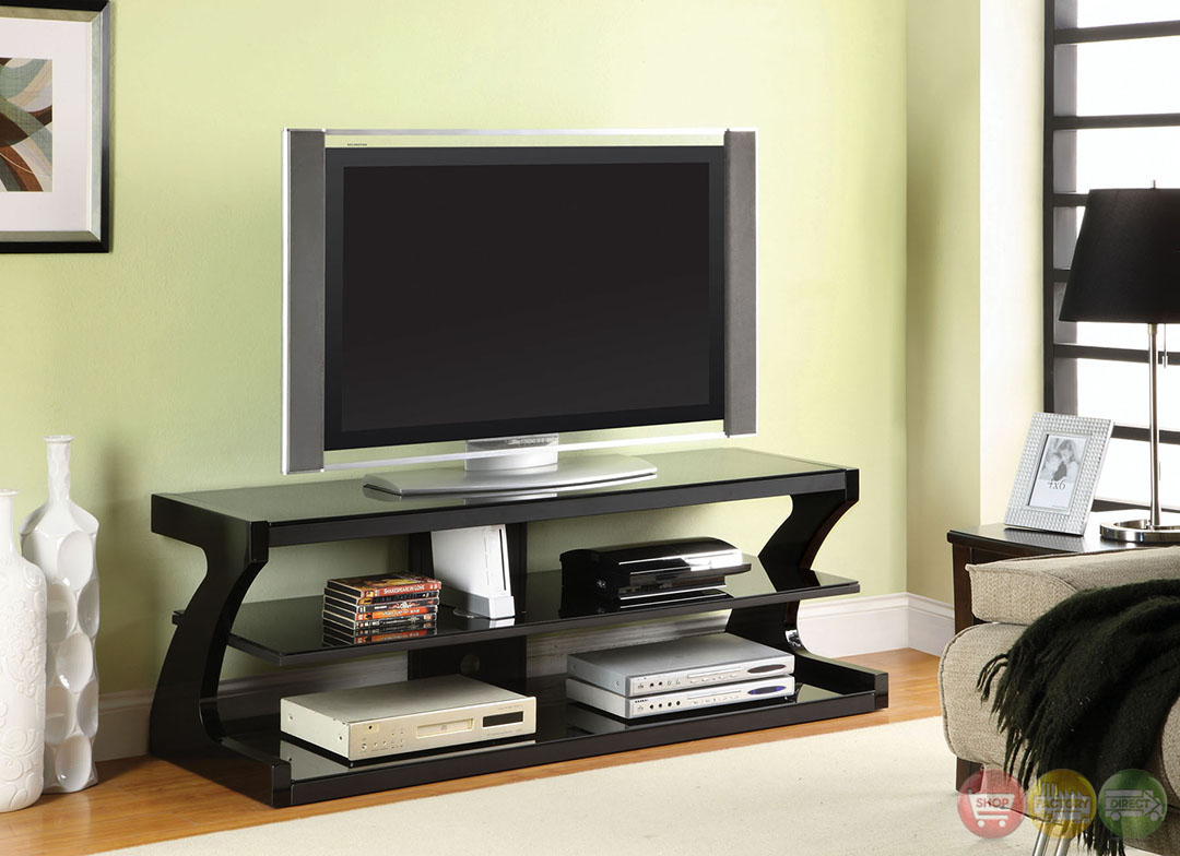 zega contemporary black tv console with z shape side