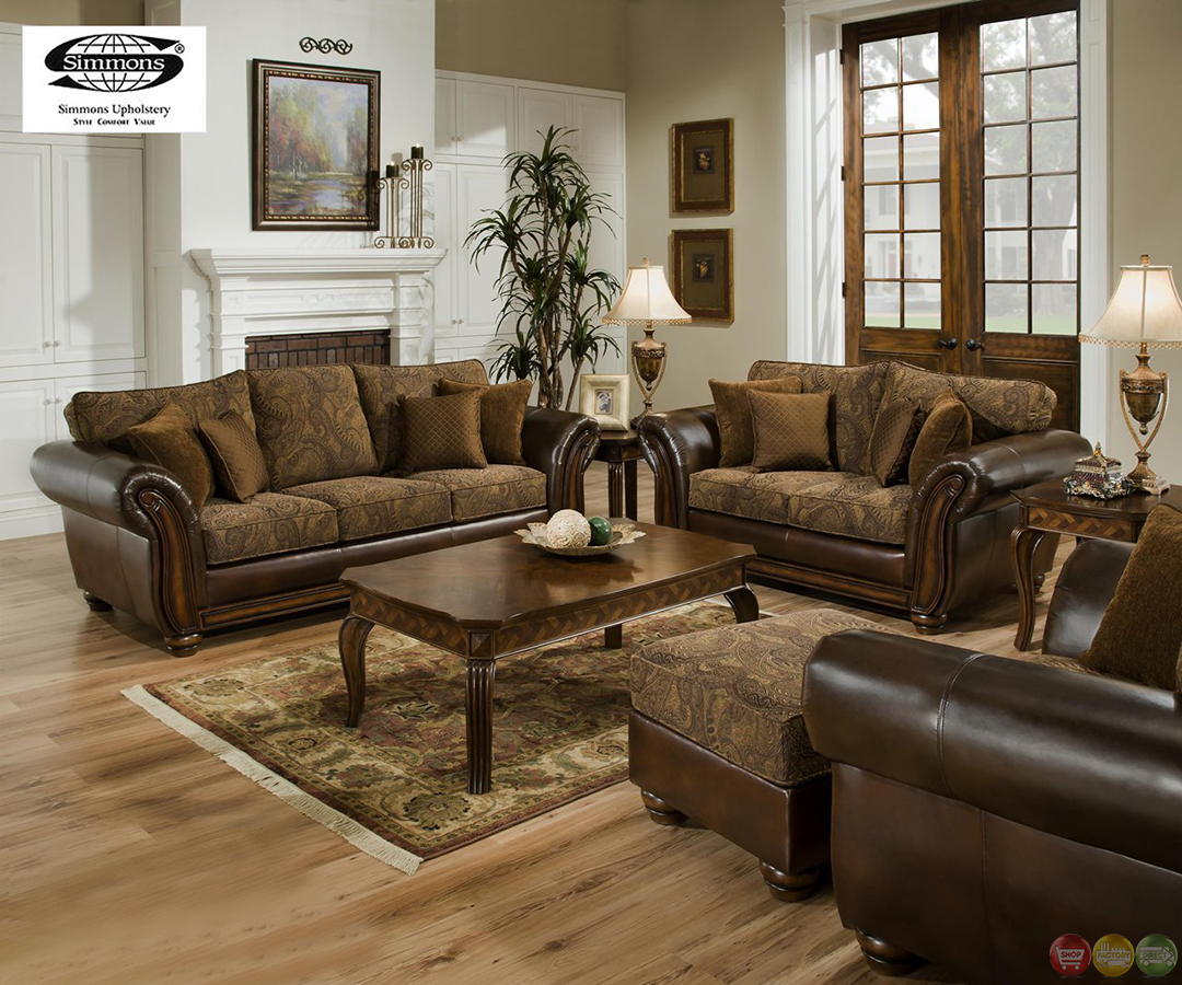 Living Room Sofa Sets: Zephyr Chenille And Leather Living Room Sofa & Loveseat Set
