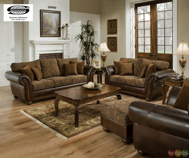 zephyr chenille and leather living room sofa loveseat set by simmons - Leather Living Room Furniture