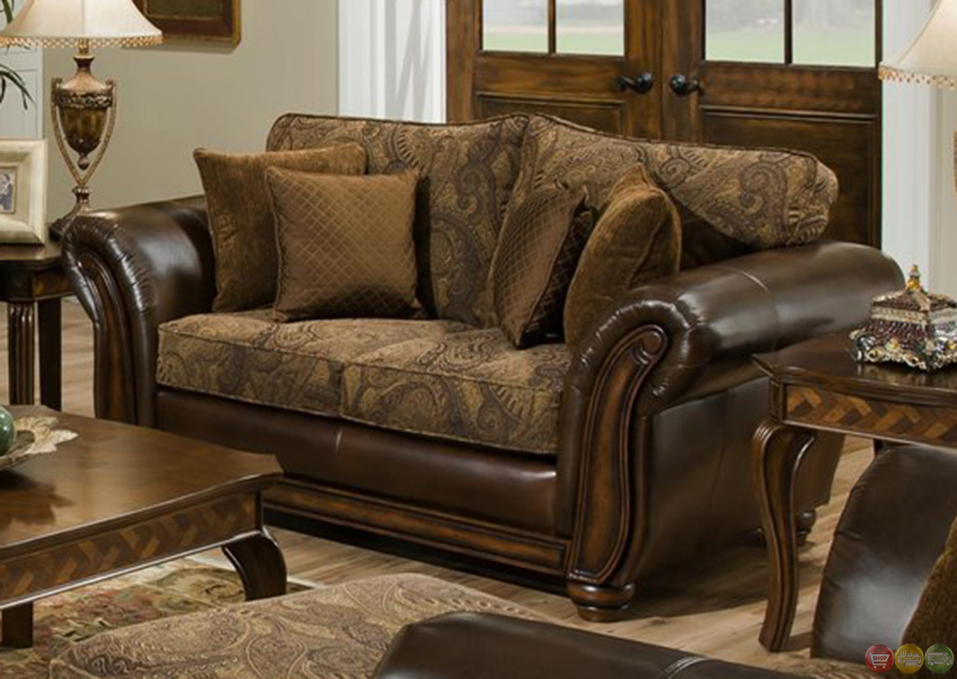 Zephyr chenille and leather living room sofa loveseat set for Leather sofa and loveseat set
