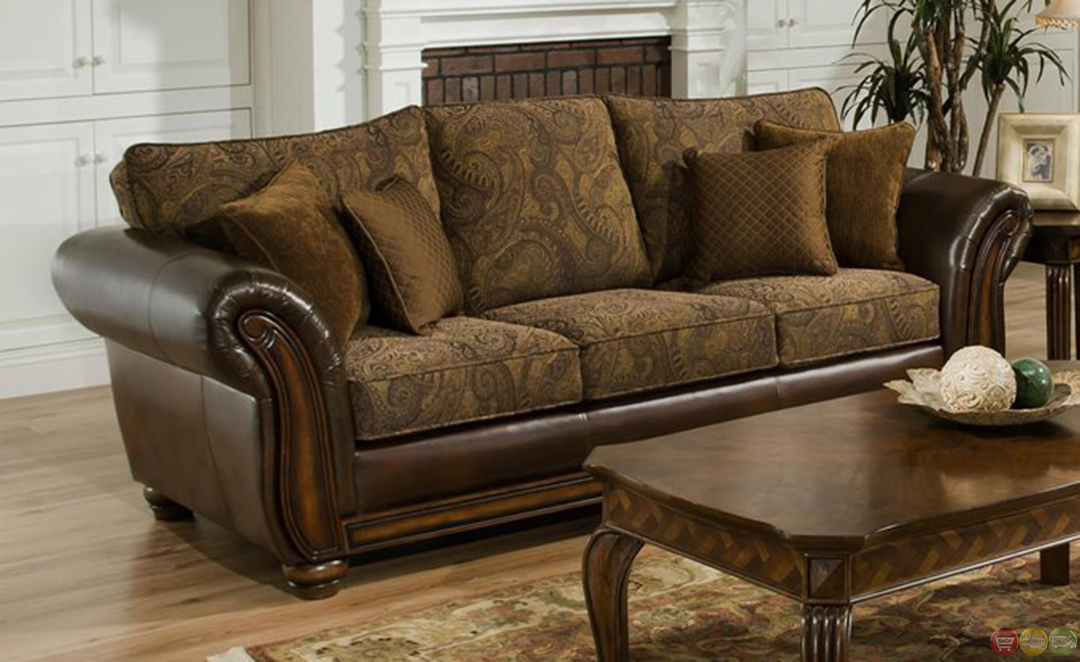 Zephyr chenille and leather living room sofa loveseat set Chenille sofa and loveseat