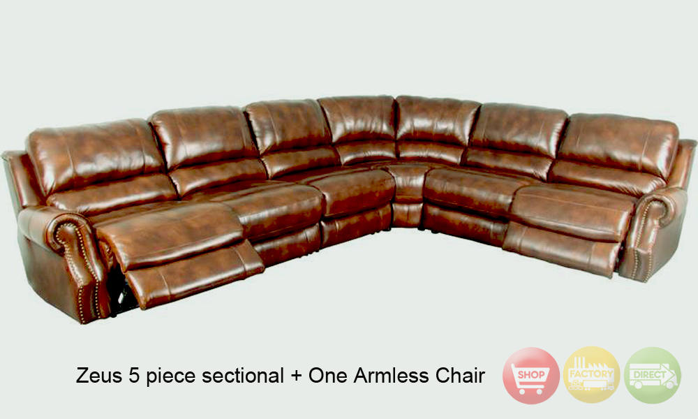 Nicolo Leather Reclining Sectional Sofa 5 Piece Power 2015