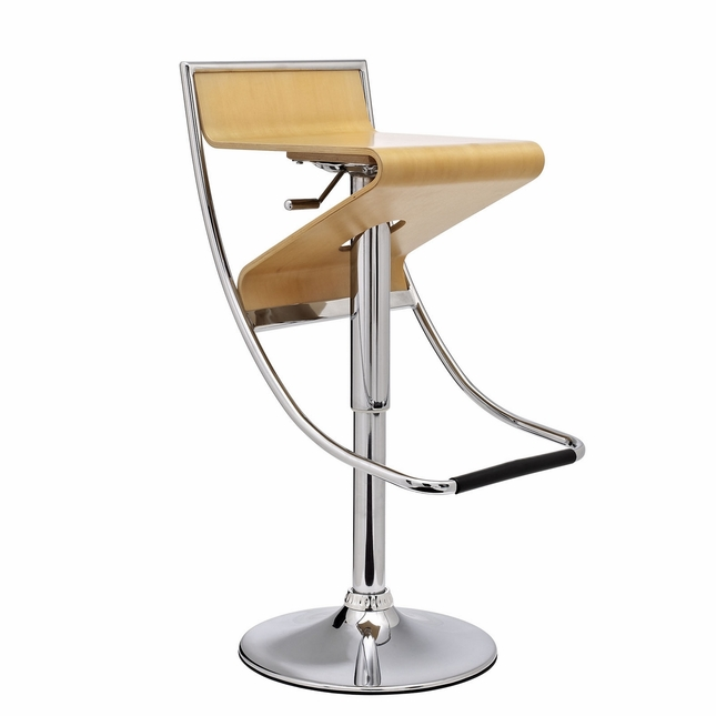 Brilliant Zig Zag Futuristic Adjustable Wood Panel Bar Stool W Chrome Ncnpc Chair Design For Home Ncnpcorg