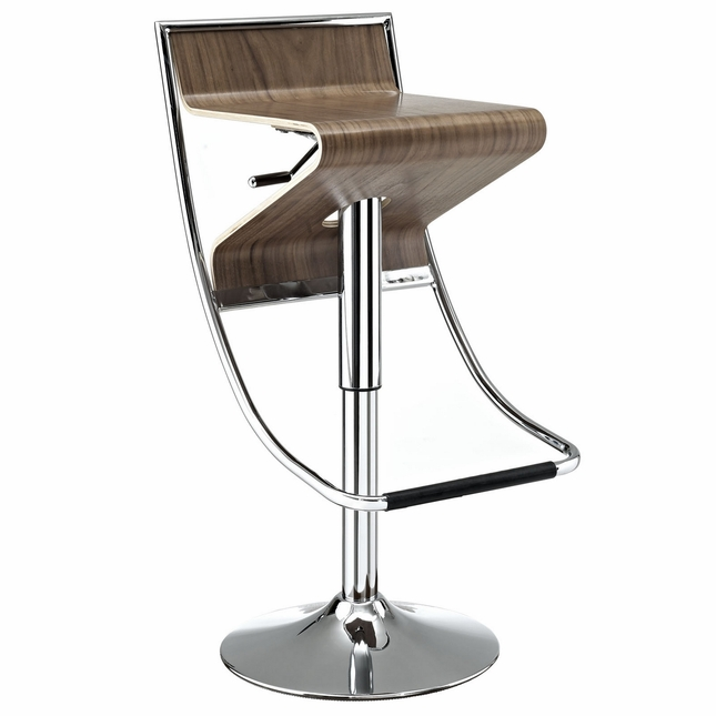 Zig-zag Futuristic Adjustable Wood Panel Bar Stool w/ Chrome Frame, Walnut