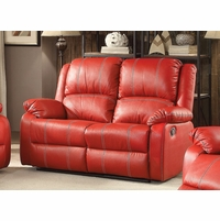 Zimra Contemporary Reclining Loveseat in Red Faux Leather